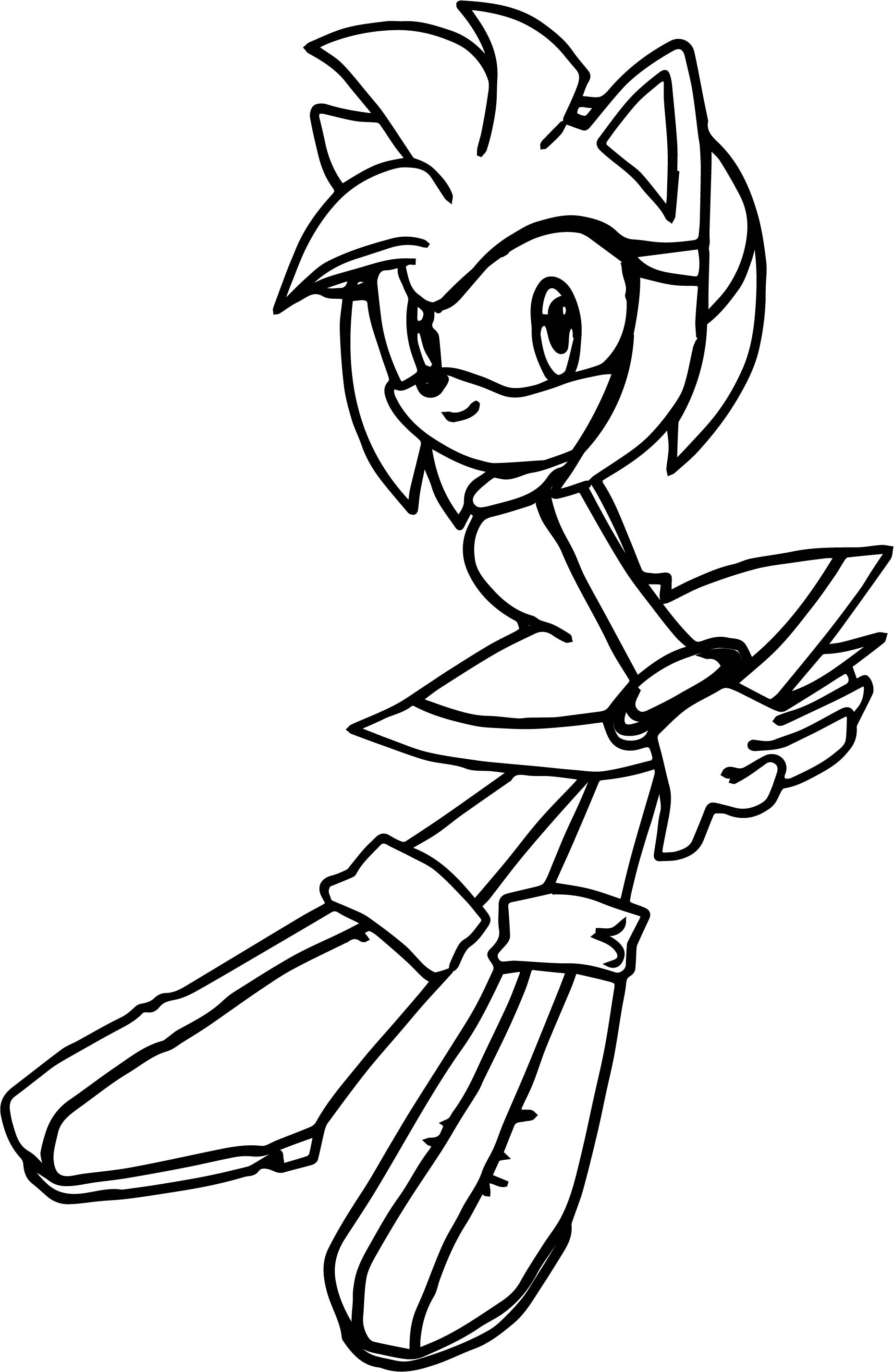 Amy Rose Waiting Coloring Page