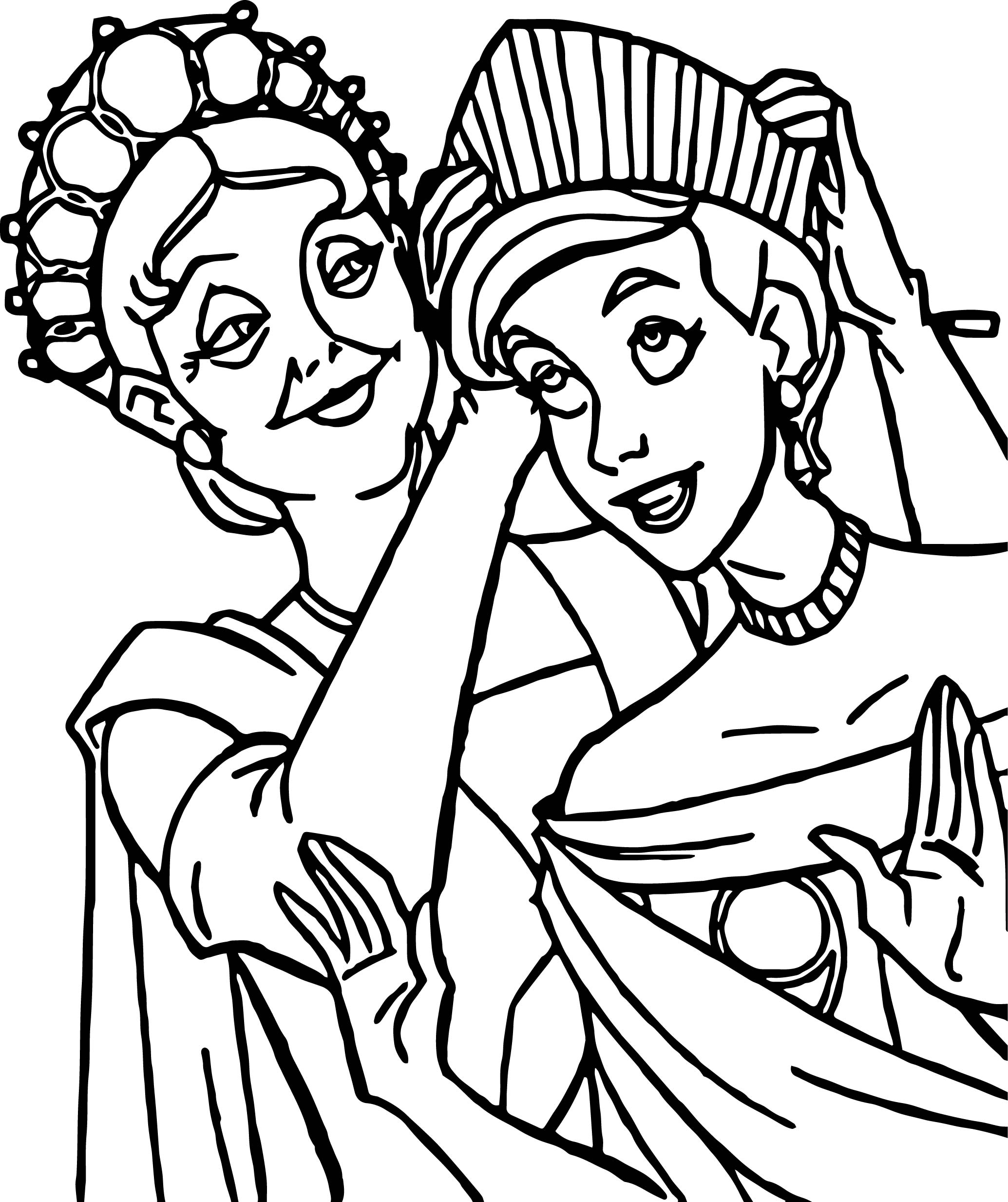 Anastasia And Mother Coloring Page