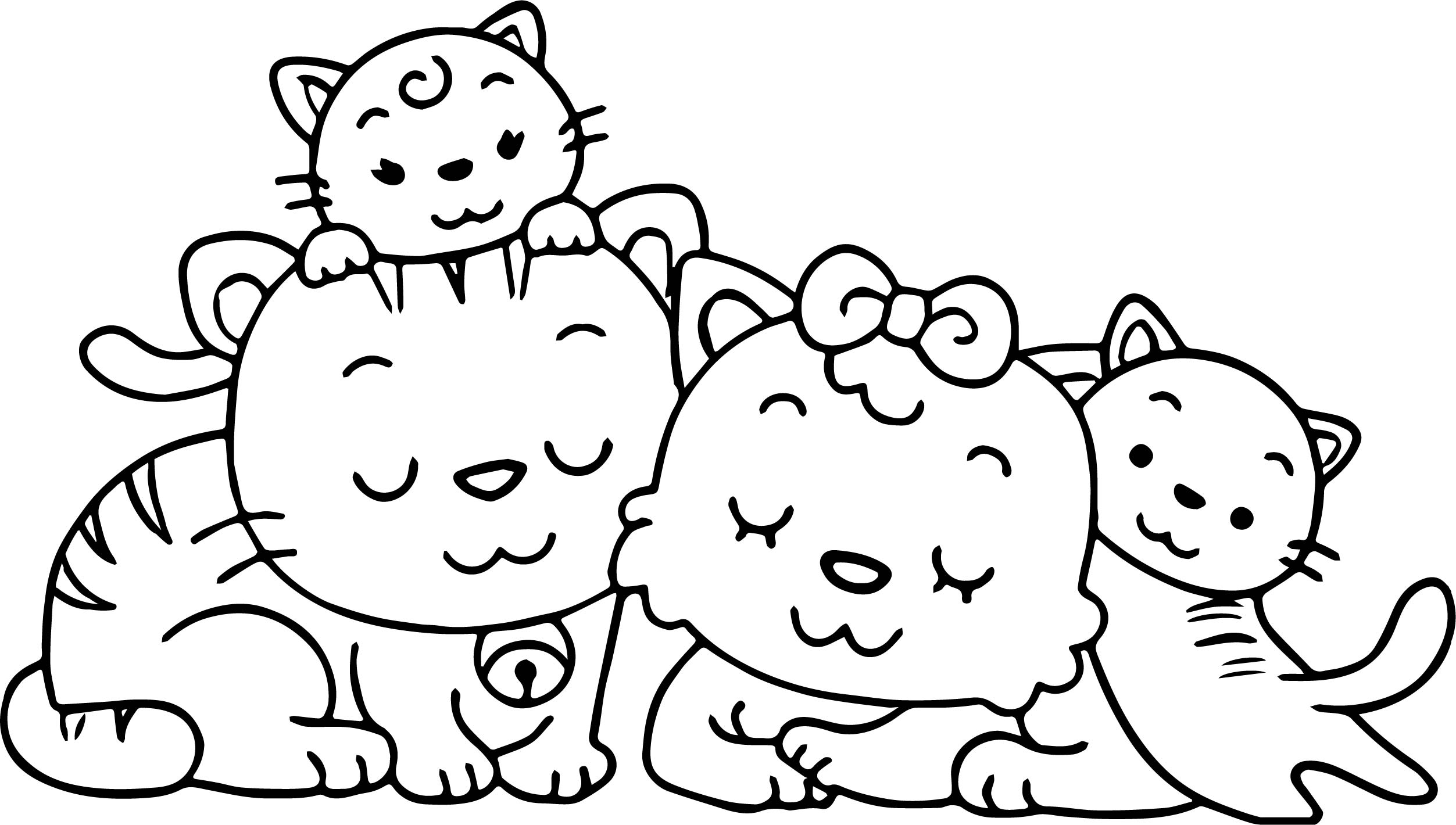 Animal Cat Family Coloring Page Wecoloringpage Family Coloring Page