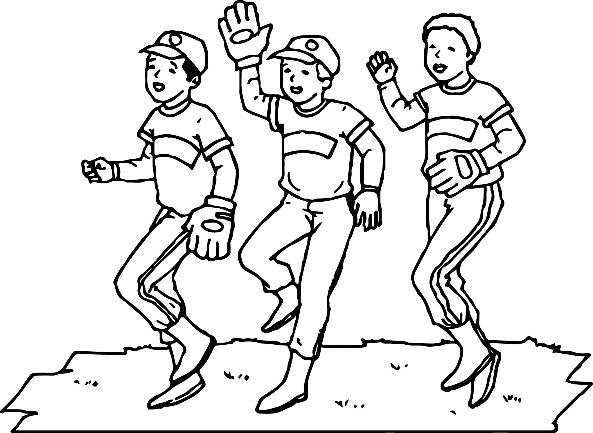 baseball team playing baseball coloring page