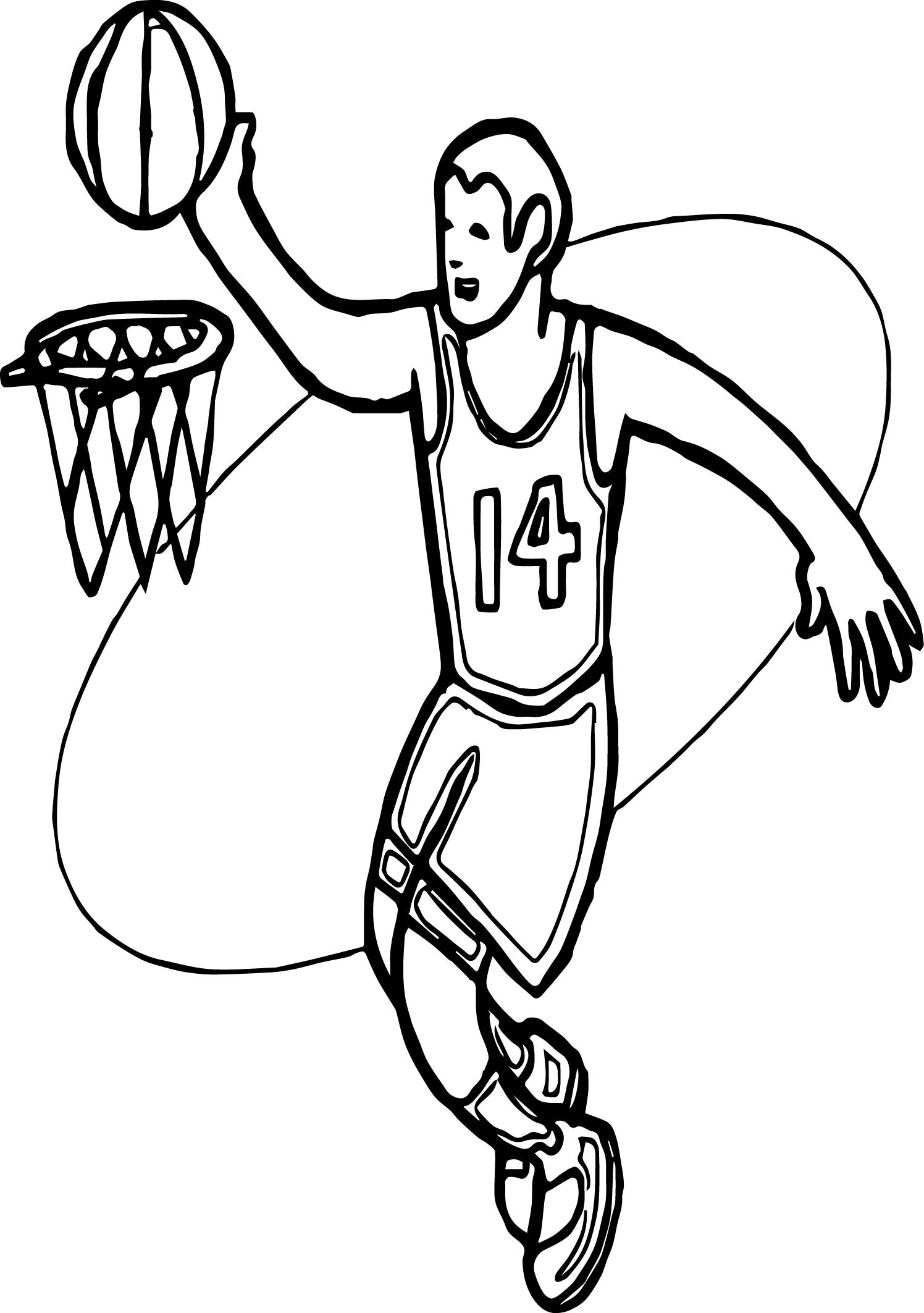 Basket And Man Playing Basketball Coloring Page ...