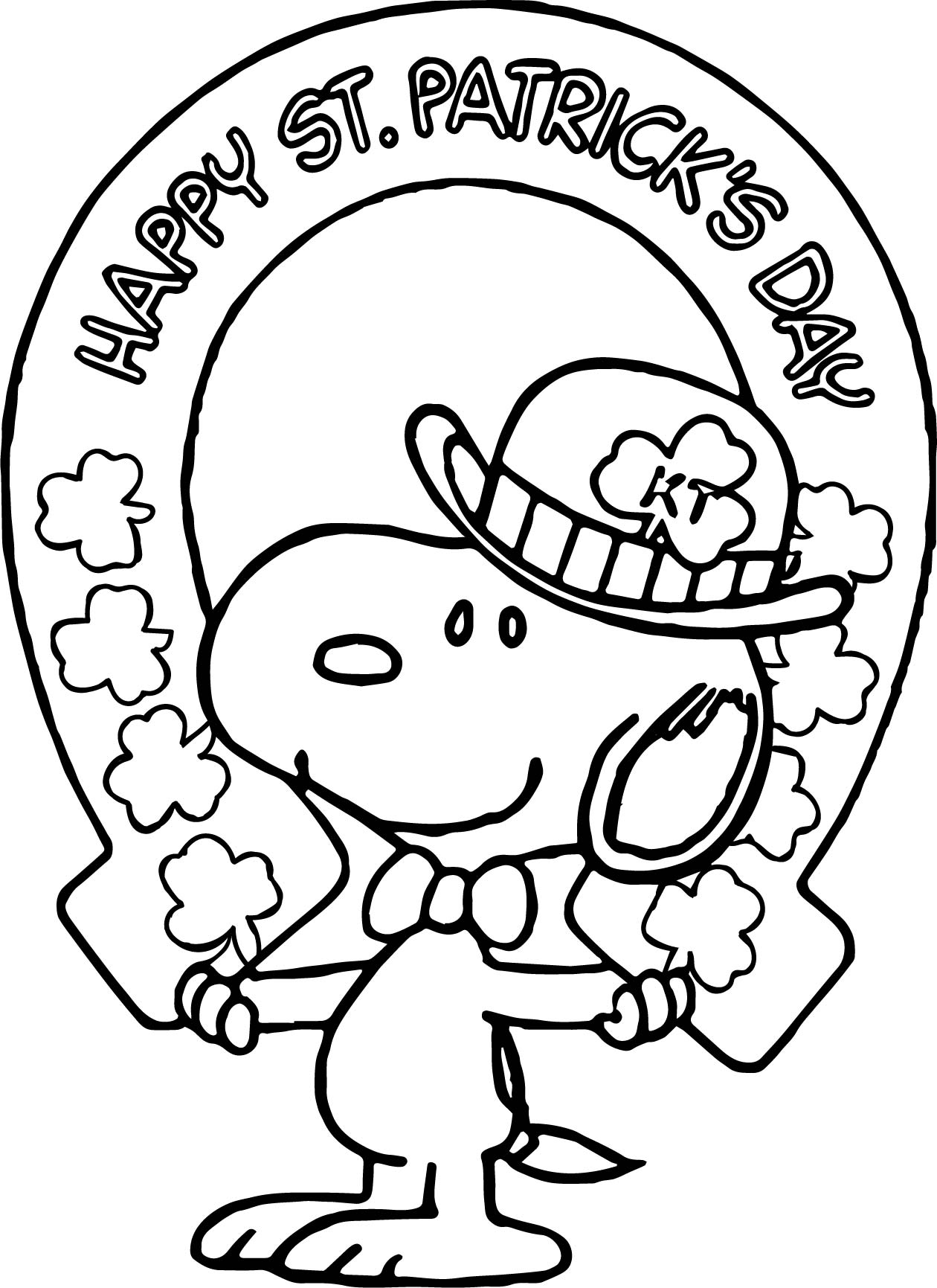 st patrick day coloring pages free - beachy st patrick snoopy all saint day coloring page
