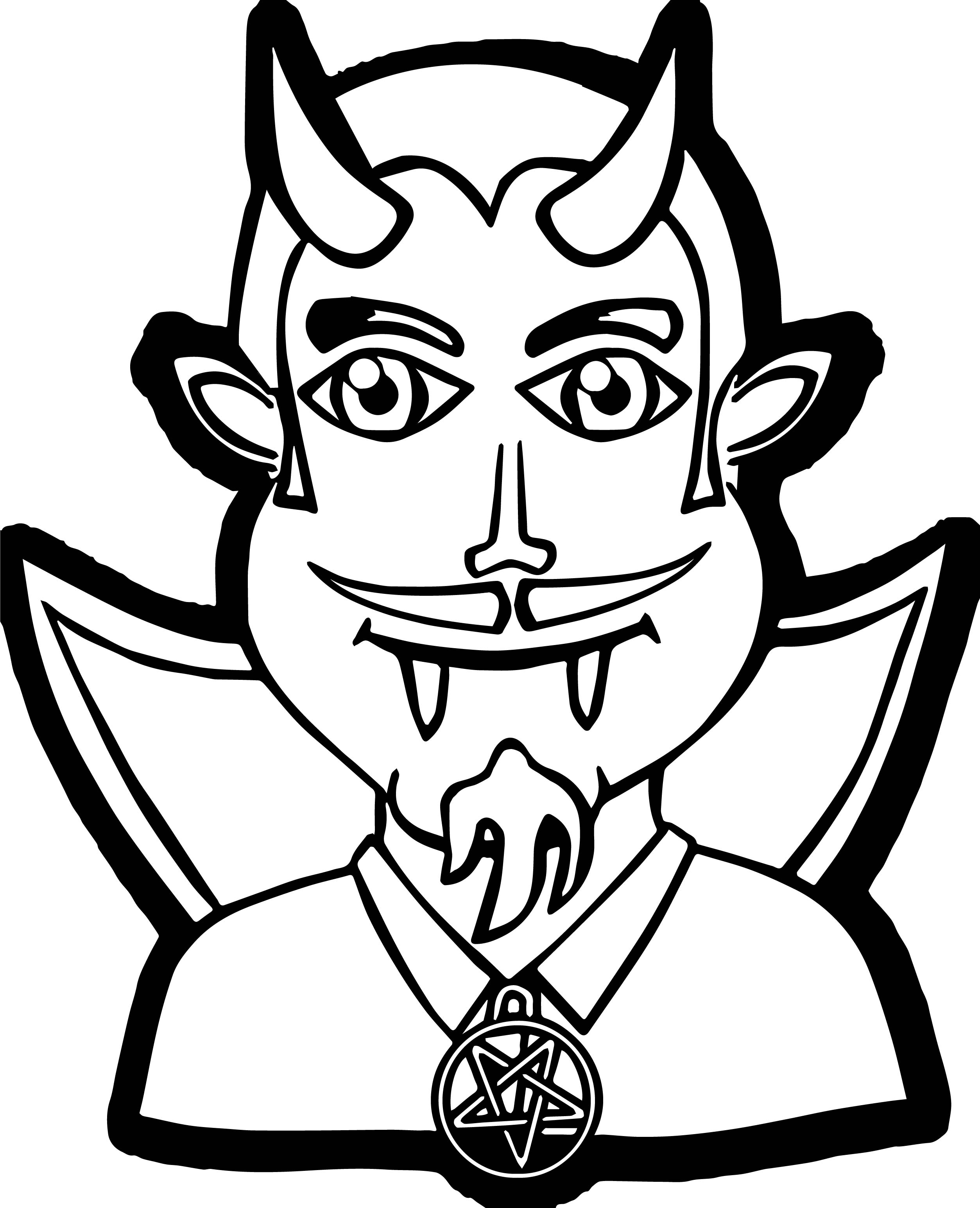 Bearded Whiskered Vampire Man Coloring Page