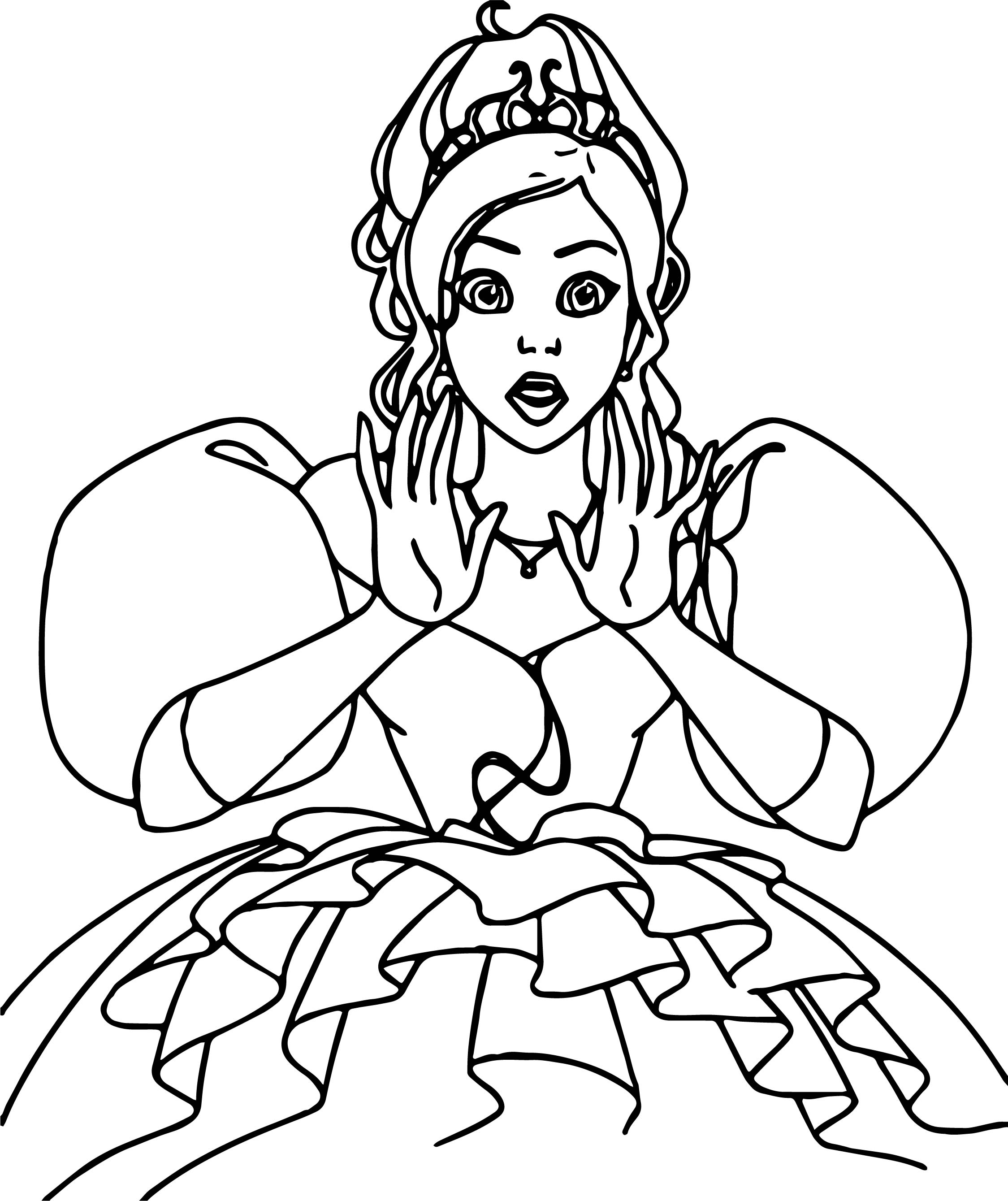 Disney Girl Coloring Pages - Beautiful disney enchanted princess girl shocked coloring pages