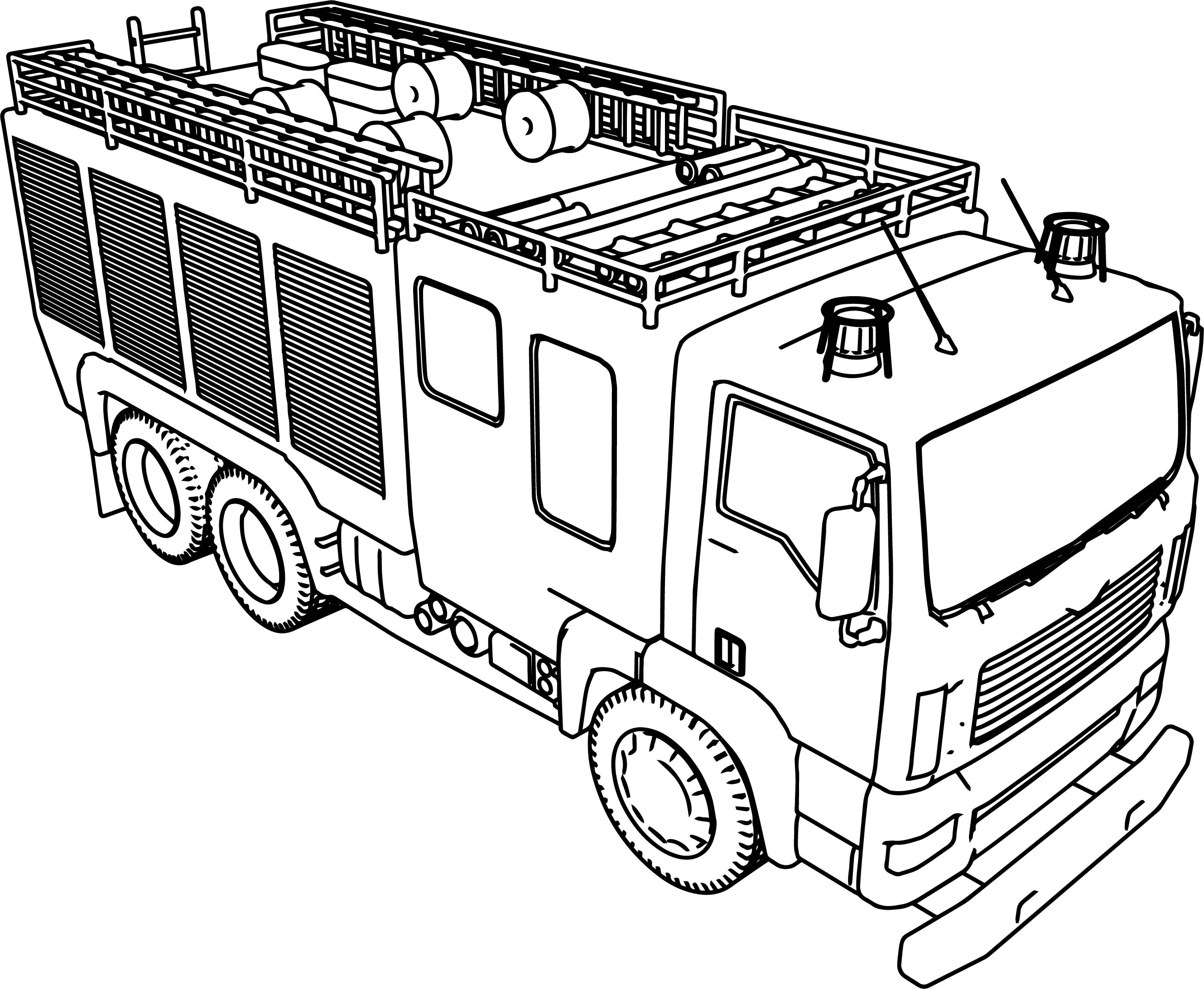 fire truck color page - big fire truck coloring page