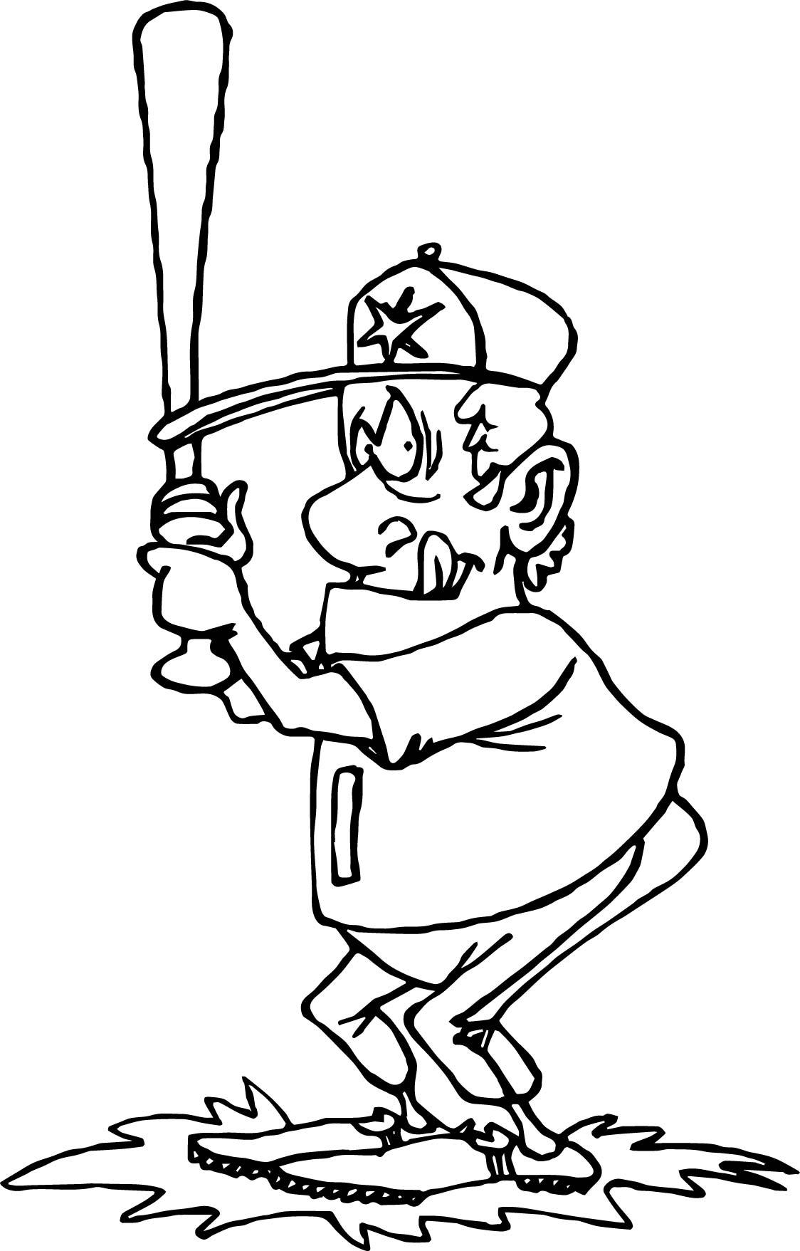 Big Man Playing Baseball Coloring Page