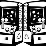 Black Atari Playing Computer Games Coloring Page