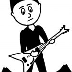Black Boy Teenager Playing Rock Guitar Playing The Guitar Coloring Page