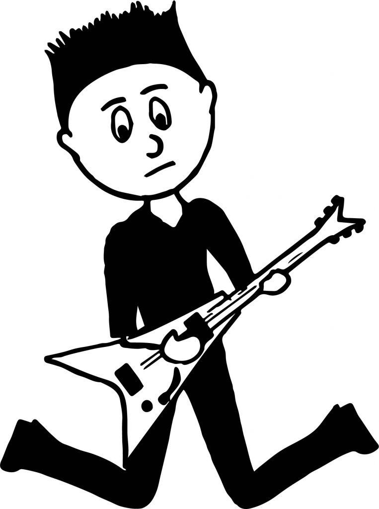 Black Boy Teenager Playing Rock Guitar Playing The Guitar Coloring ...