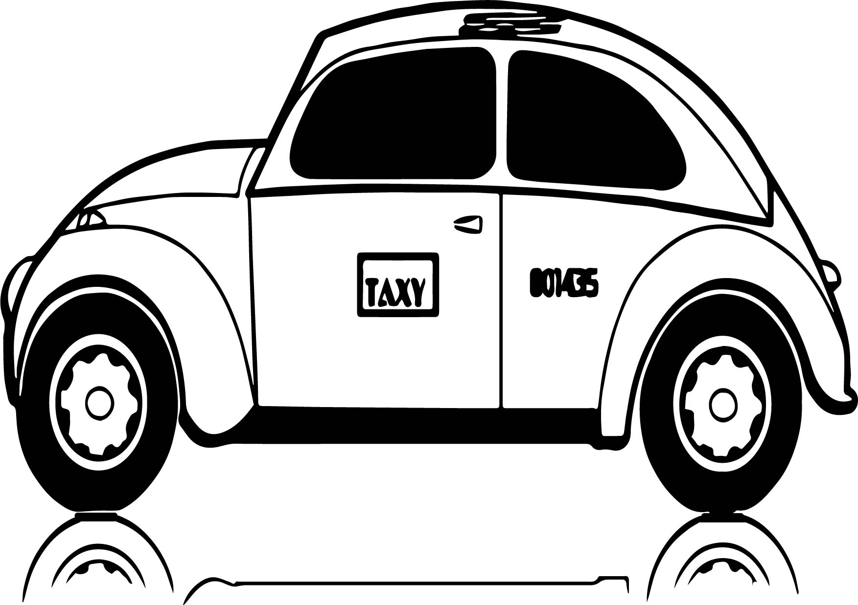Black Taxi Driver Car Coloring Page