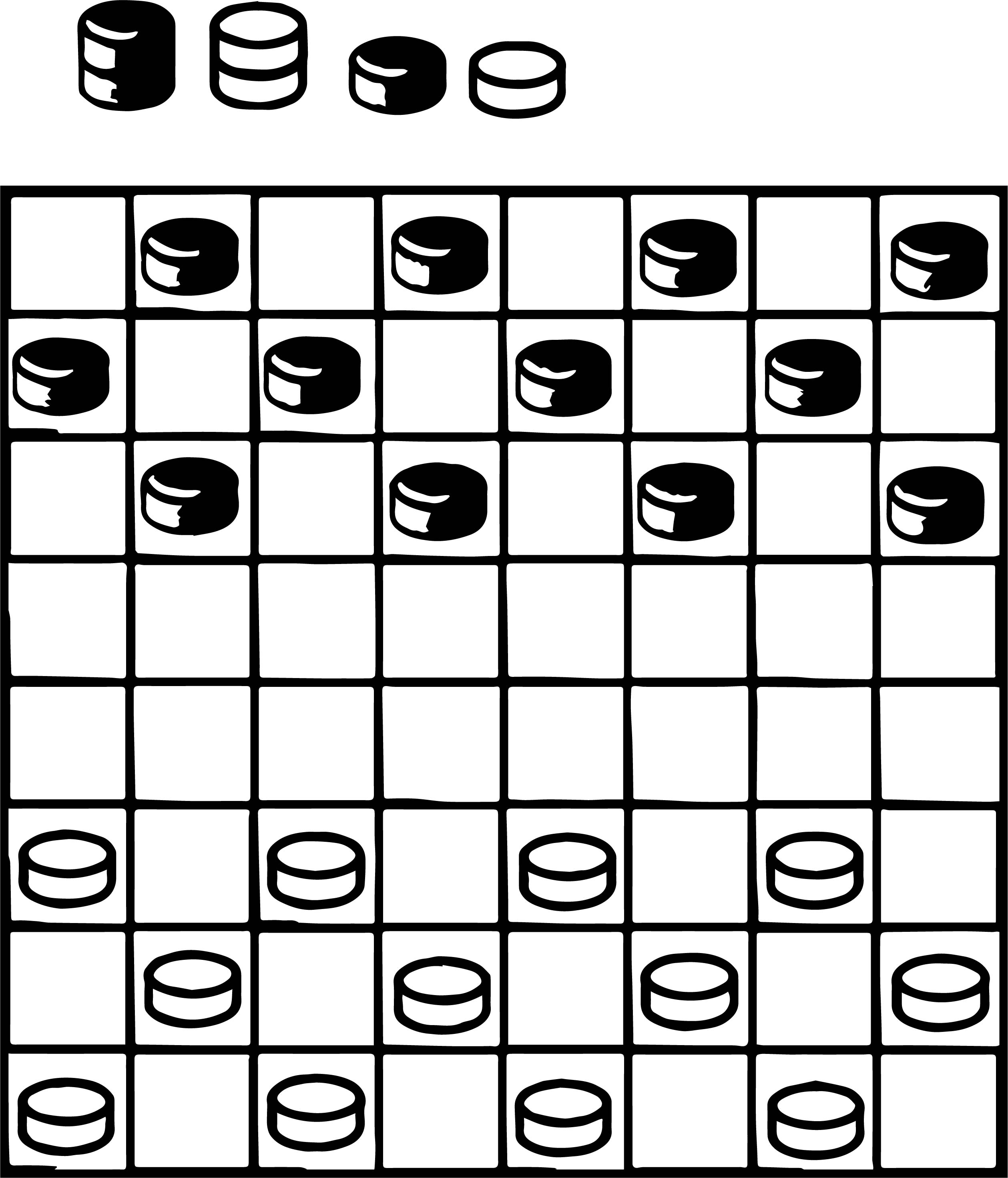 Board Checkers Play Coloring Page