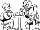Board Chess Playing With Robot Coloring Page