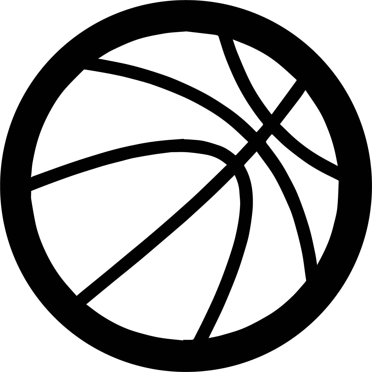 Bold Outline Basketball Ball Coloring Page