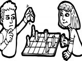 Boy And Girl Board Game Coloring Page