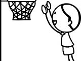 Boy Playing Basketball Jumping To Hoop Playing Basketball Coloring Page