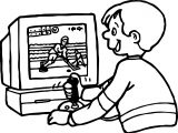 Boy Playing Computer Games Hockey Coloring Page