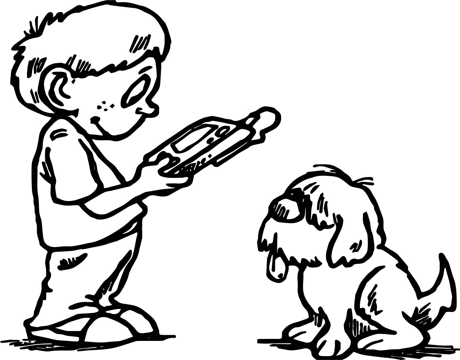 Boy Playing Computer Games With Dog Coloring Page