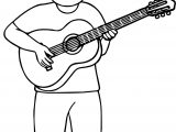 Boy Playing Guitar Coloring Page