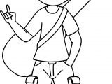 Boy With His Guitar Case Over Shoulder Playing The Guitar Coloring Page