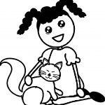 Cartoon African American Girl Sitting With Her Cat Coloring Page