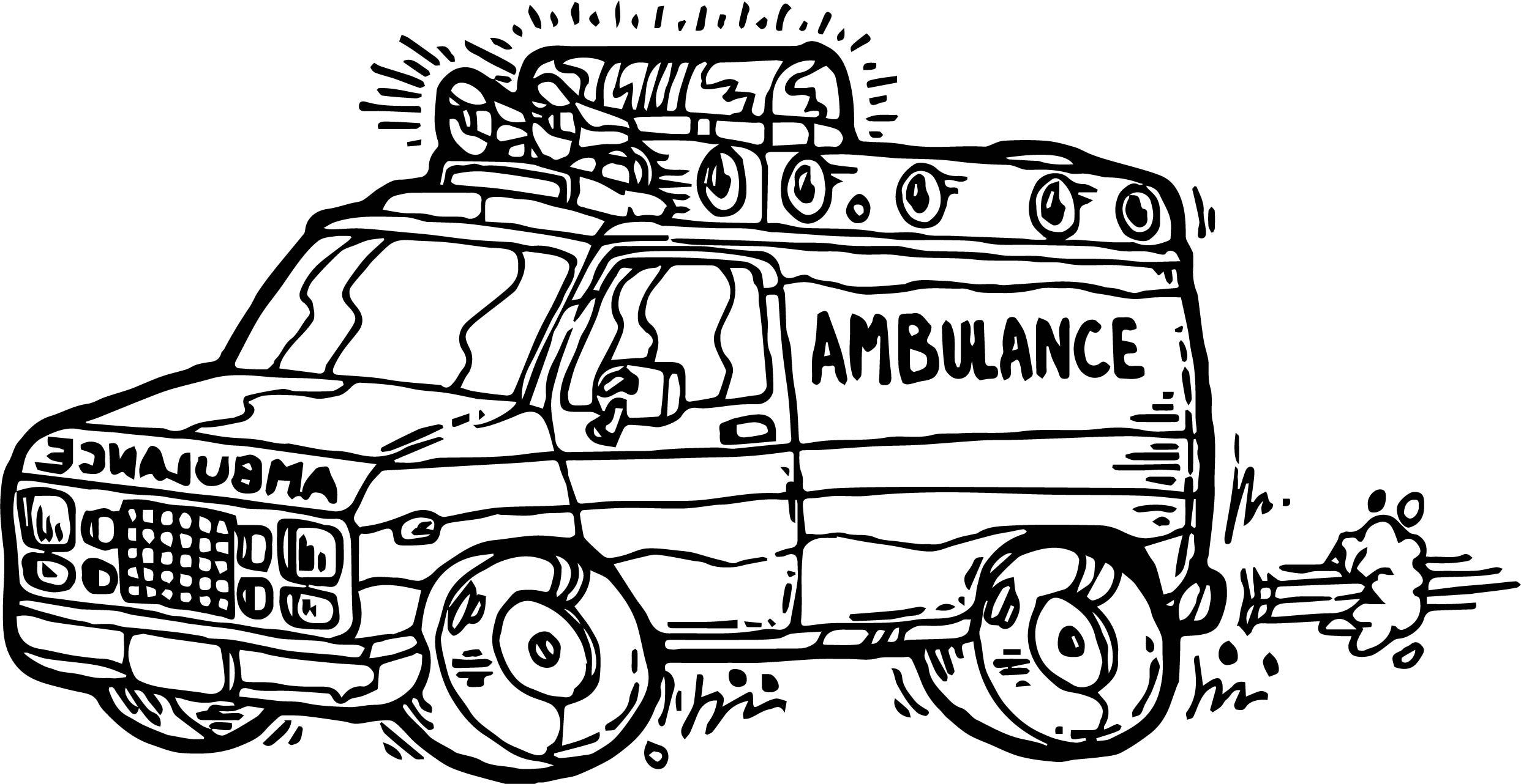 Cartoon ambulance coloring page for Ambulance coloring page