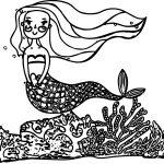 Cartoon Mermaid Princess Beautiful Underwater World Coloring Page