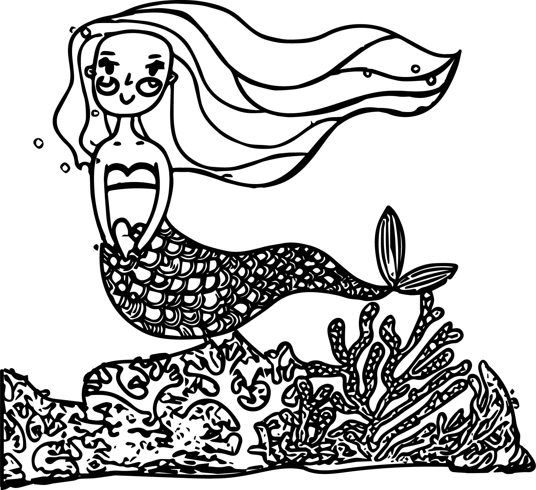 cartoon mermaid princess beautiful underwater world coloring page