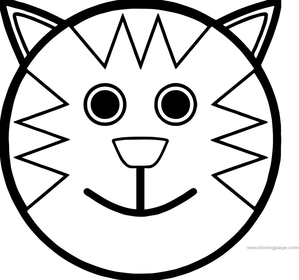 Cartoon Smiley Face Cat Coloring