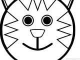 Cartoon Smiley Face Cat Coloring Page