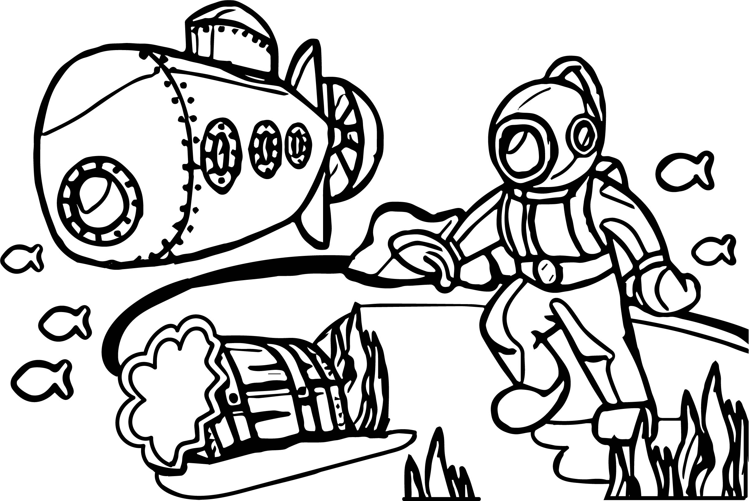 Cartoon Underwater Adventure Coloring Page