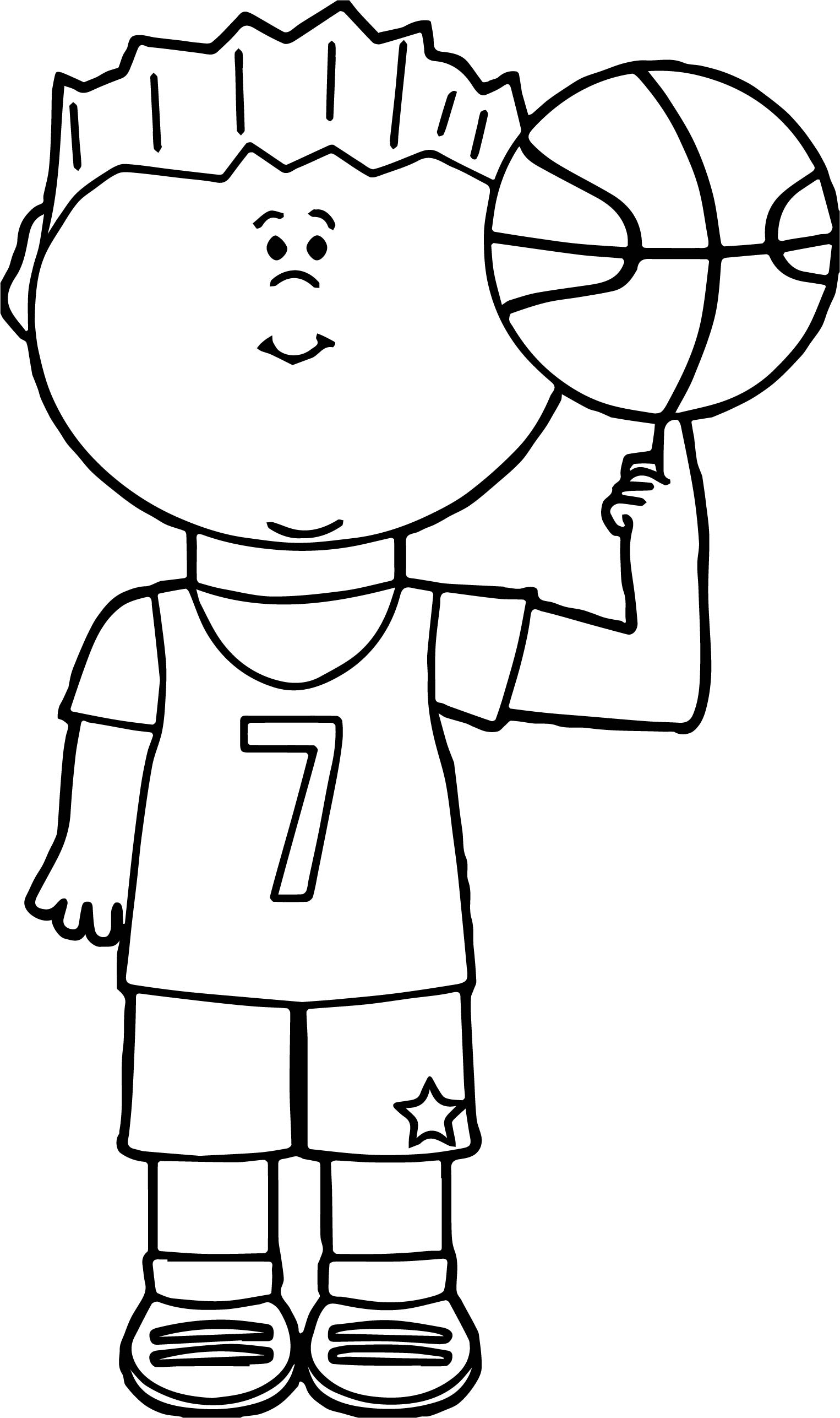 Child Player Balancing Basketball On Finger Playing Basketball Coloring Page