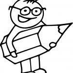 Children Big Pencil Holding Coloring Page