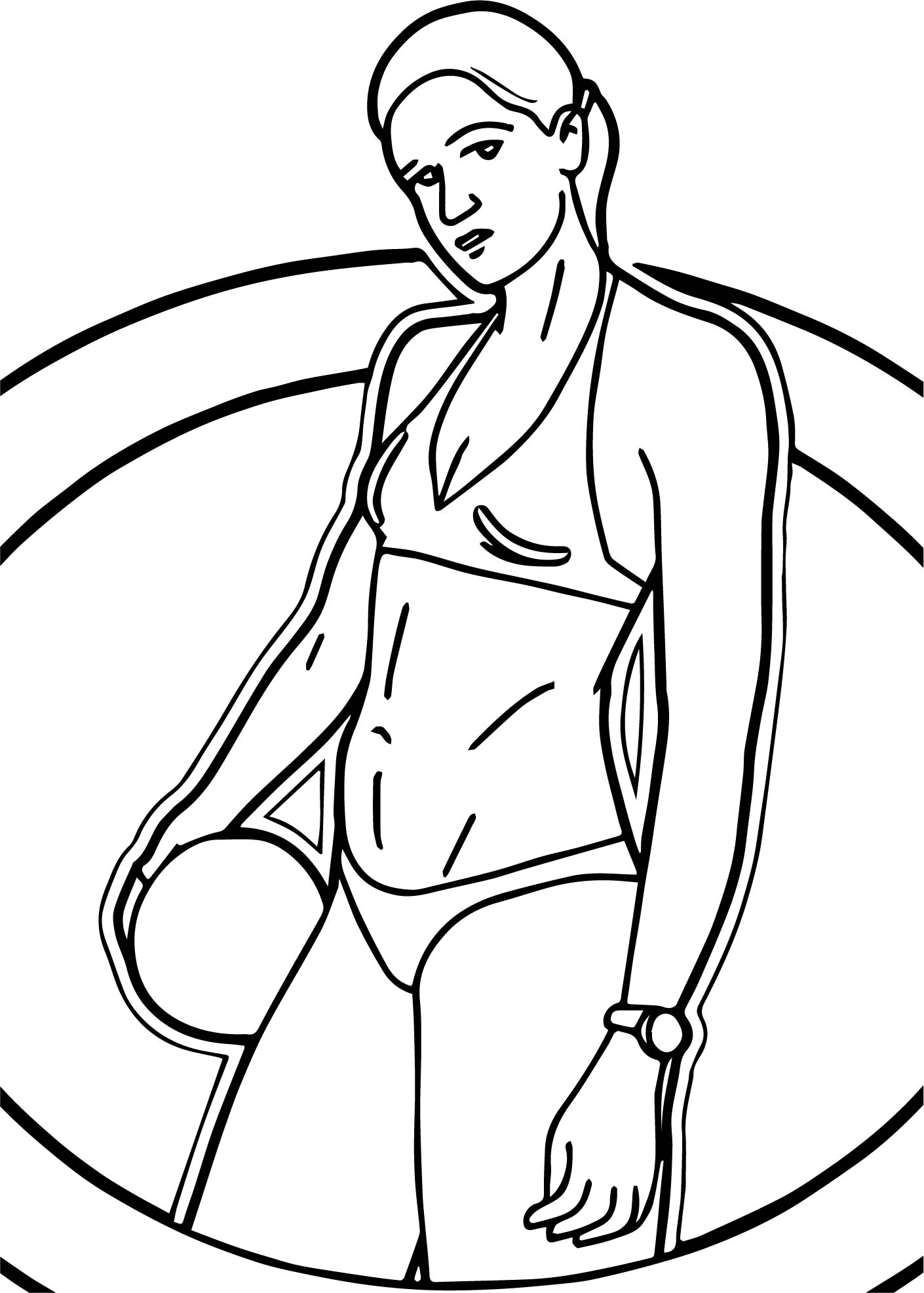 Circle Beach Volleyball Player Coloring Page