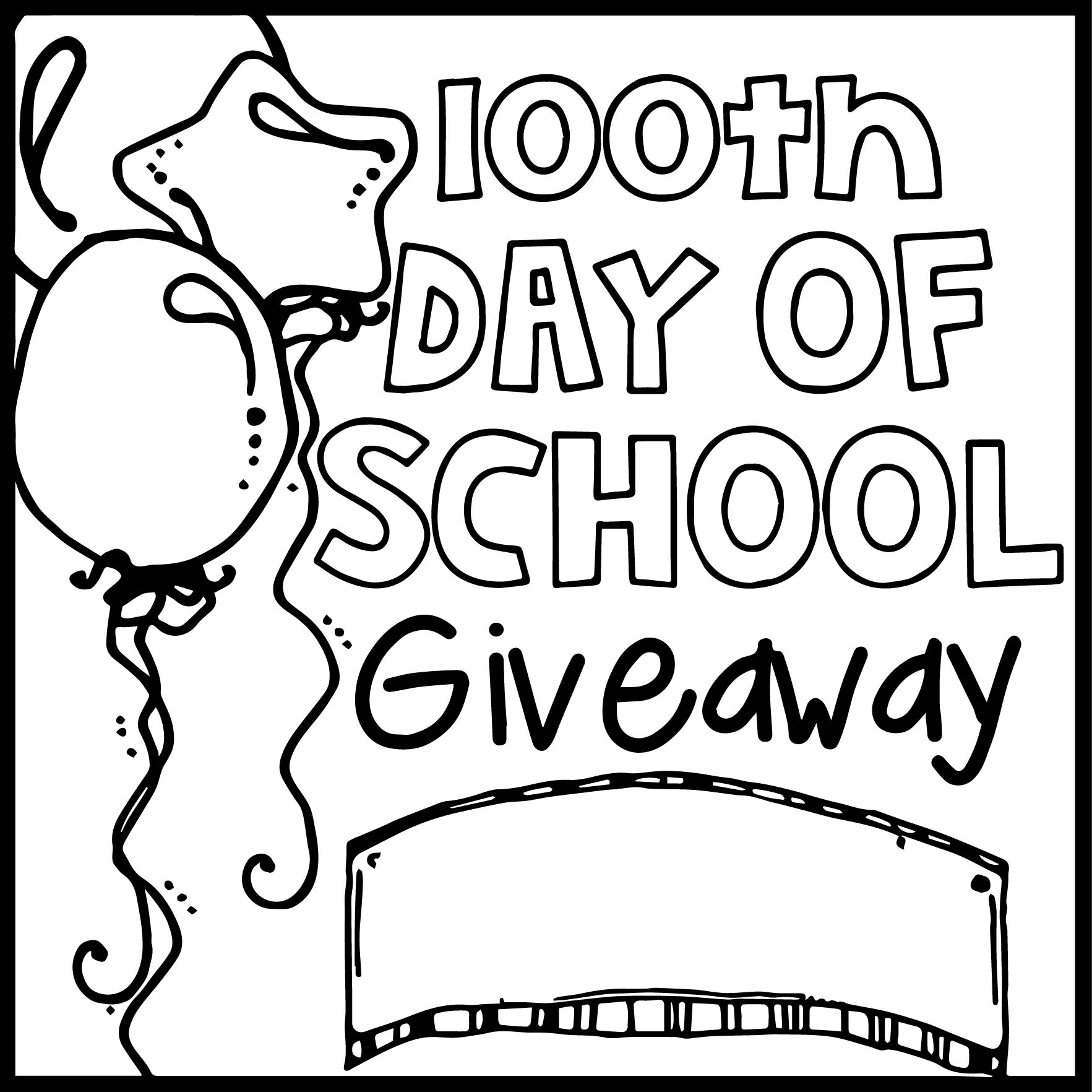 Classroom Ideas 100th Day Of School Giveaway Coloring Page
