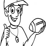 Coach Holding Playing Football Coloring Page