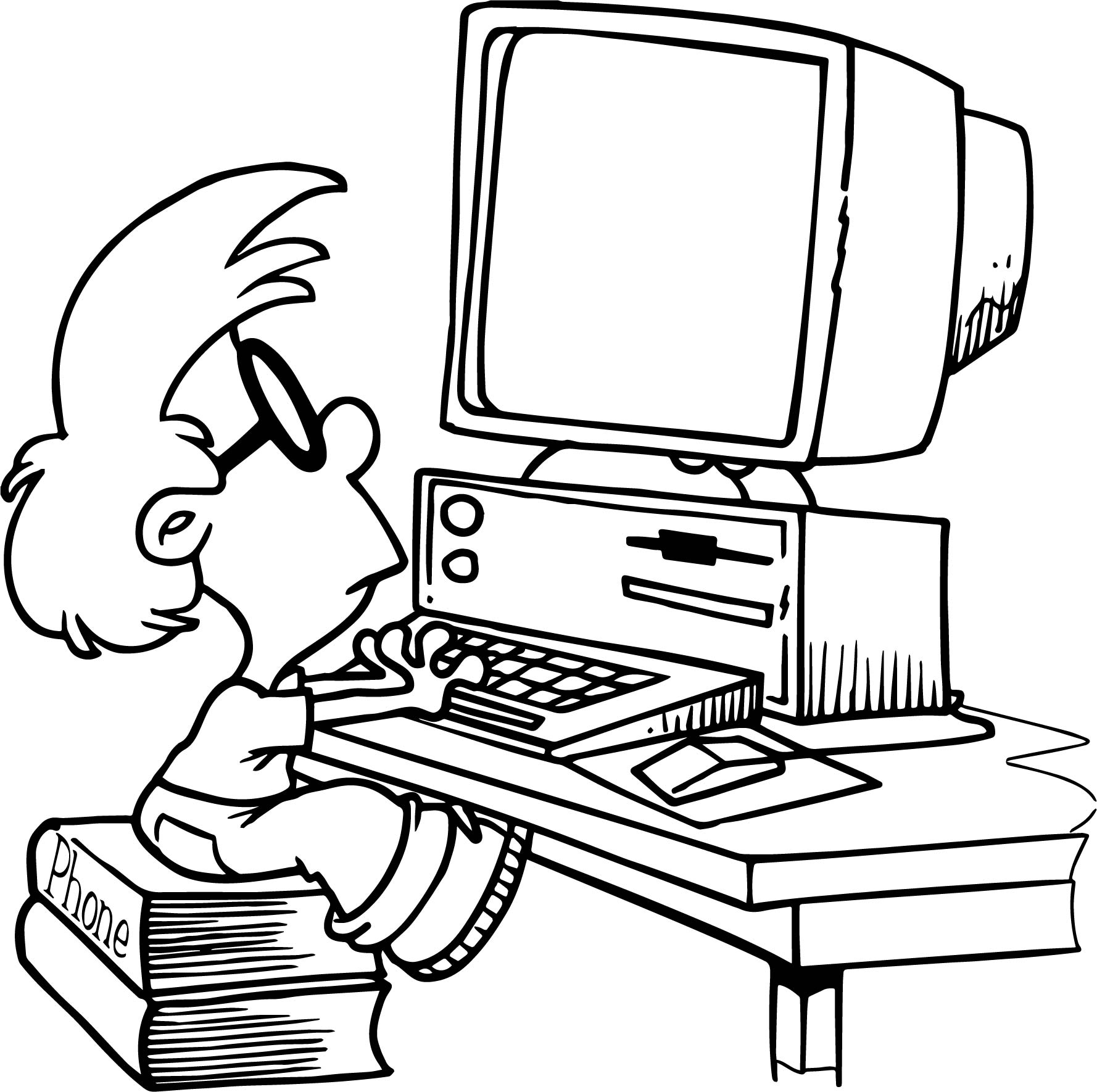 Computer Kid Playing Coloring Page | Wecoloringpage
