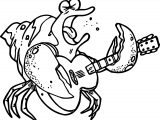 Crab Playing The Guitar Coloring Page