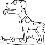 Curious Dog With Tennis Ball Coloring Page