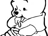 Cute Baby Winnie The Pooh Eating Hunny Coloring Page
