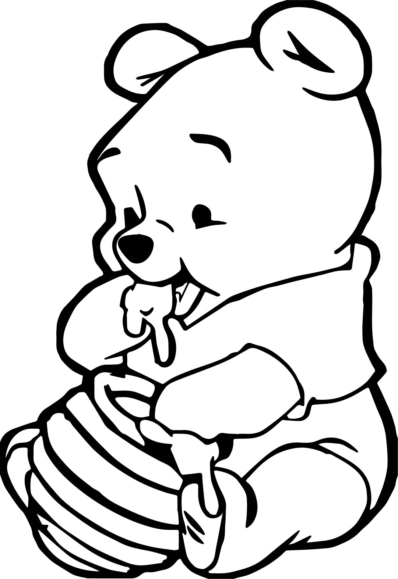 winnie the pooh and tigger coloring pages - cute baby winnie the pooh eating hunny coloring page