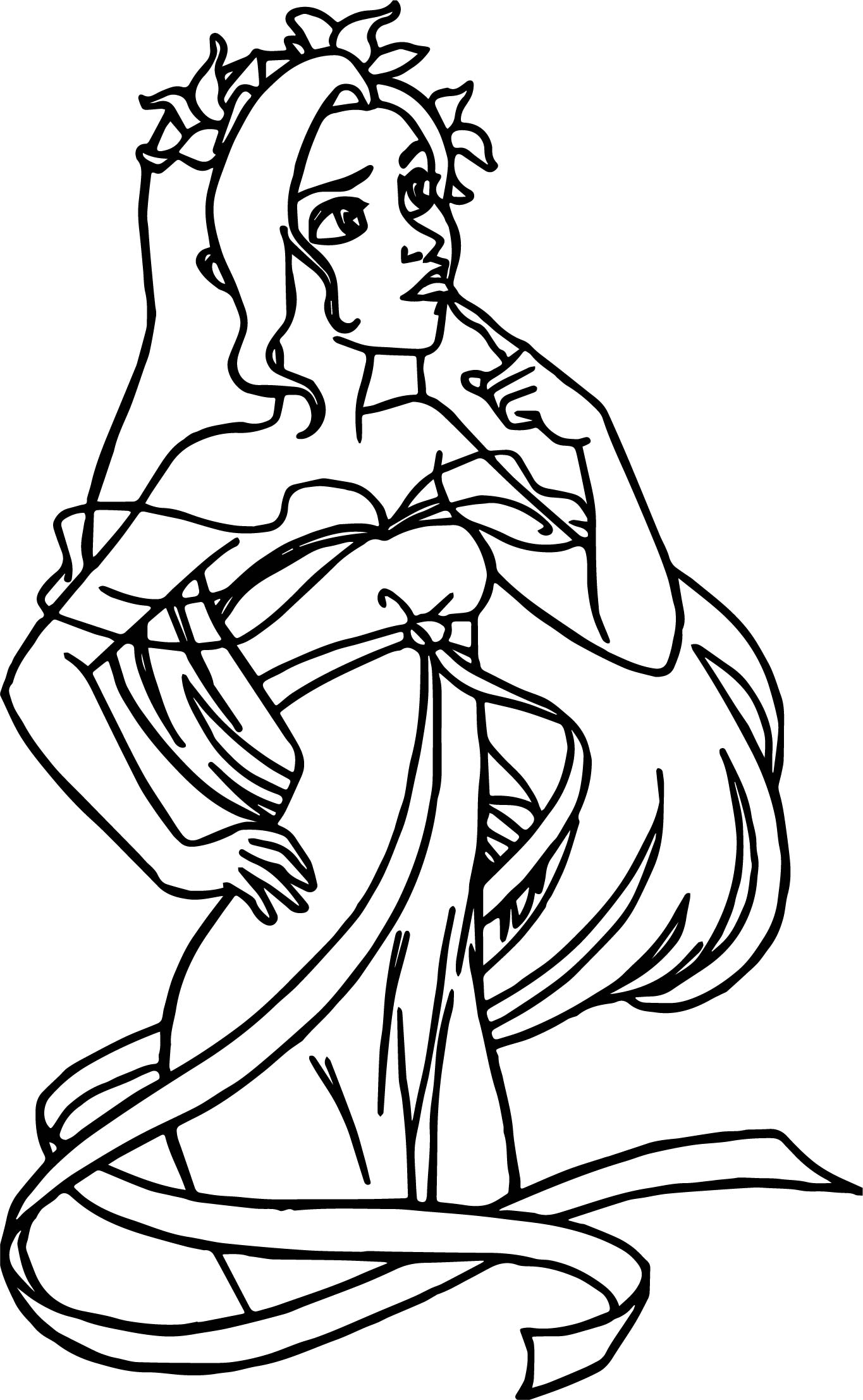 disney enchanted thinking princess thinking coloring pages