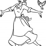 Disney The Princess And The Frog Dancing With Birds Coloring Page