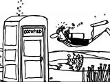 Diver Underwater Toilet Occupiet Coloring Page