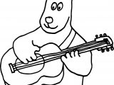 Dog Playing The Guitar Coloring Page