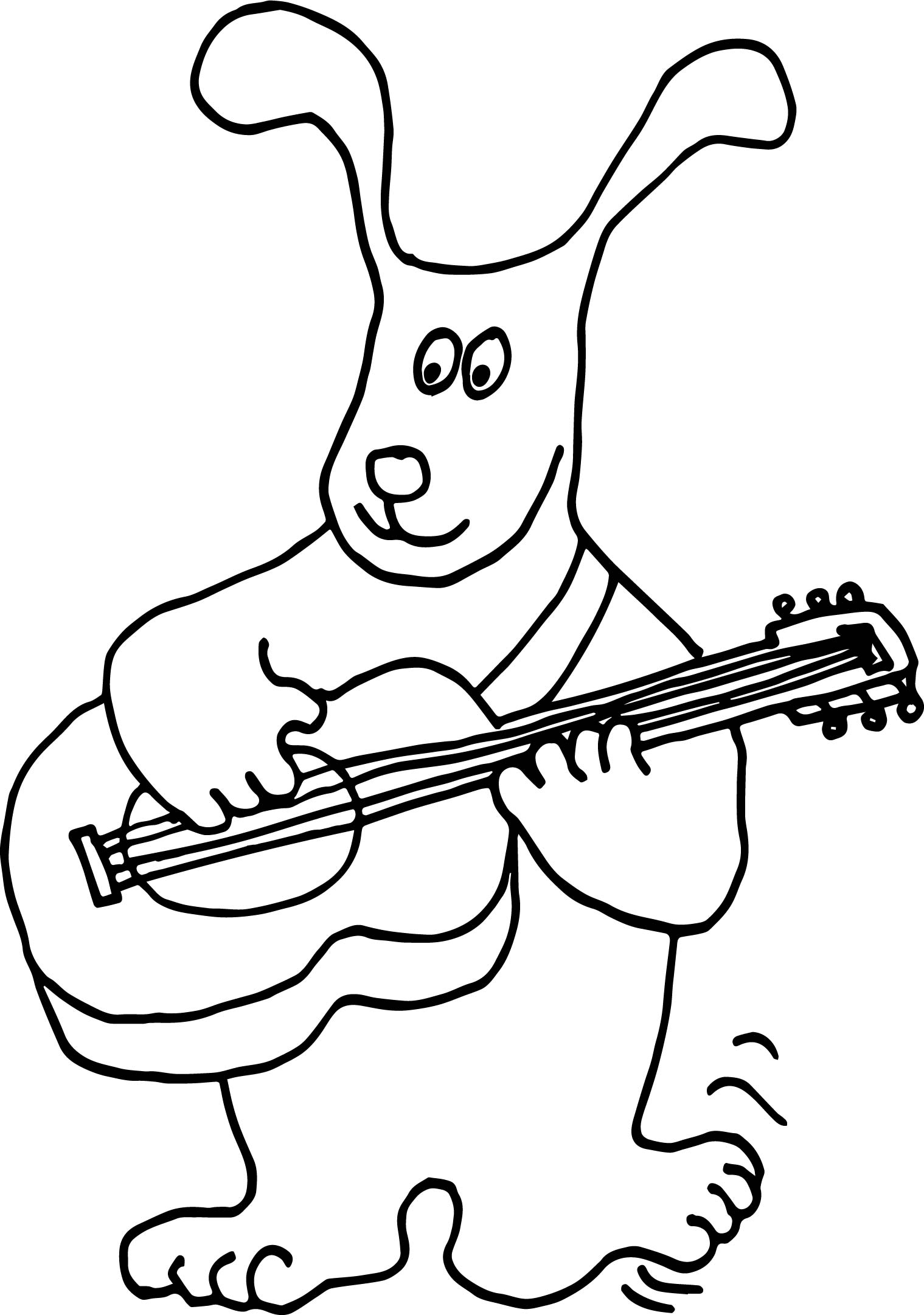 Dog Playing The Guitar Coloring Page | Wecoloringpage.com