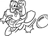 Donald Duck American Playing Football Coloring Page