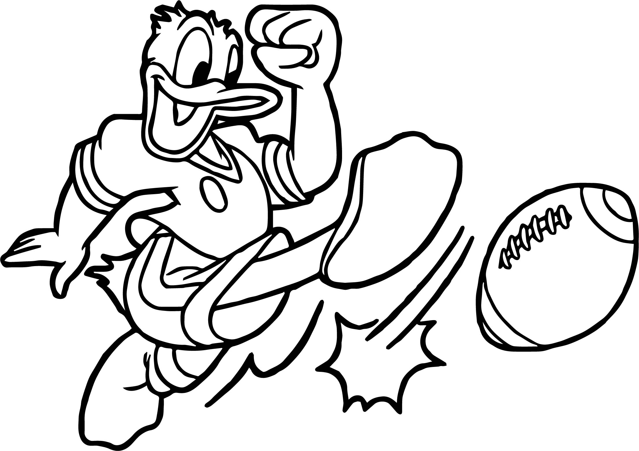 Donald duck american playing football coloring page for Football color page