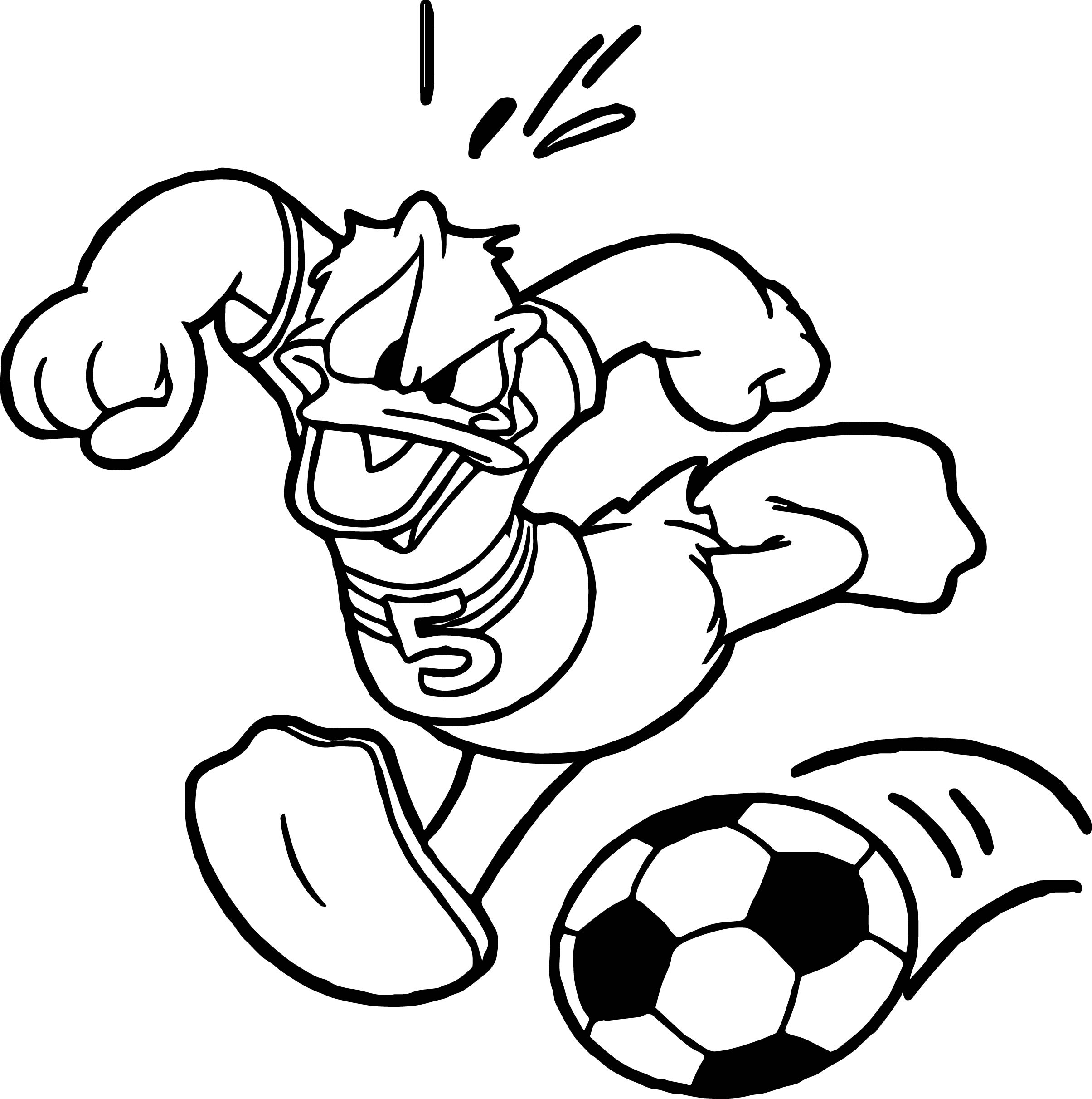 Donald Soccer Playing Football Coloring Page