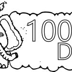 Elephant 100 Days Coloring Page