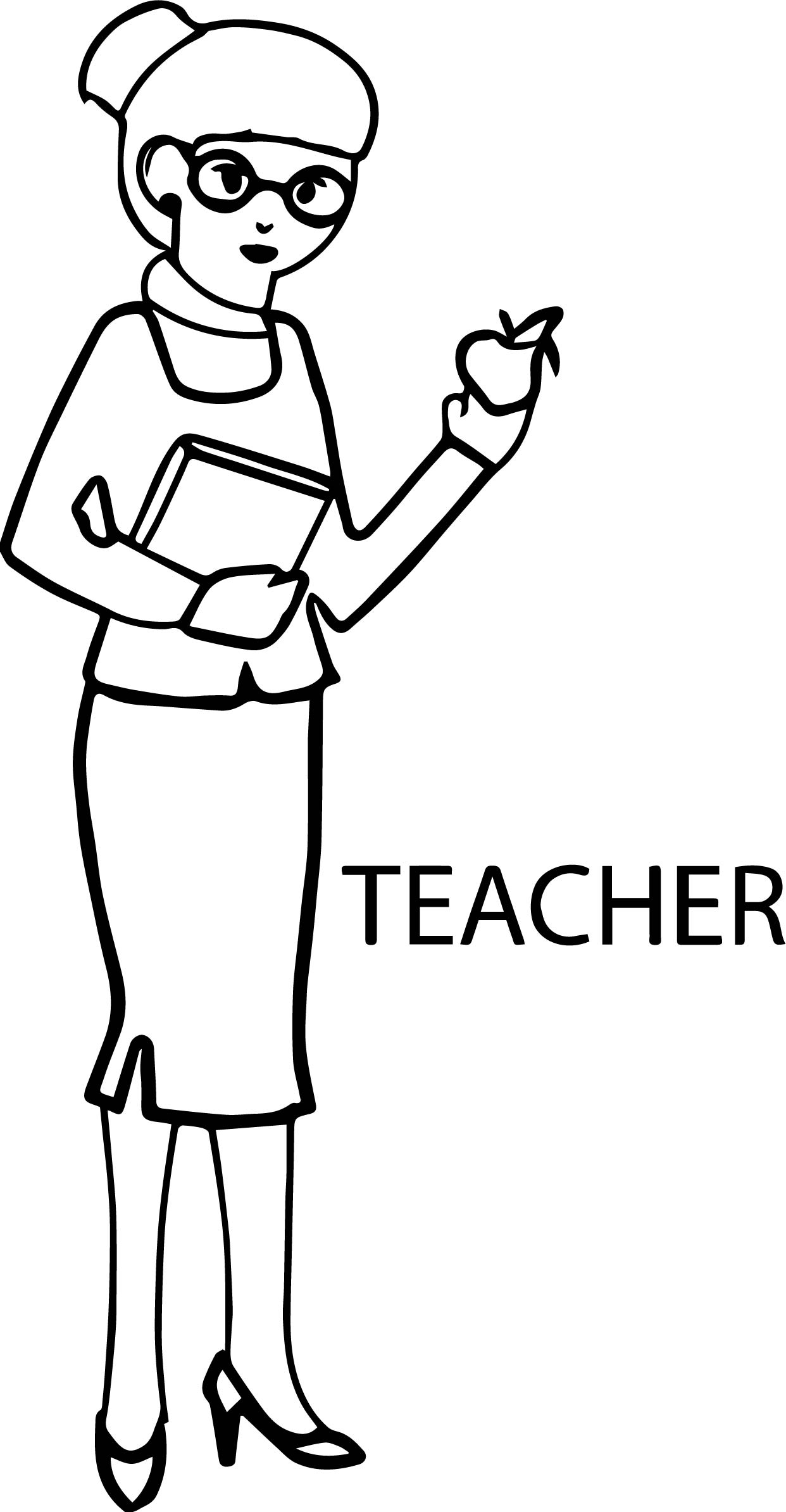 english woman teacher and apple coloring page wecoloringpage